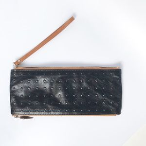 HOBO original leather embossed clutch wristlet